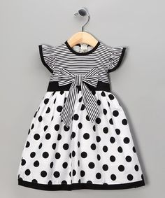 Take a look at this Black Polka Dot Stripe Dress - Toddler & Girls by Maggie Peggy on #zulily today!: