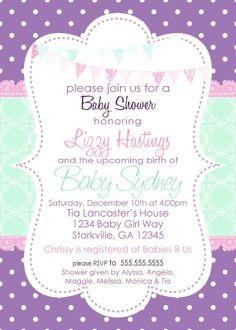 purple baby shower invitations   visit etsy com