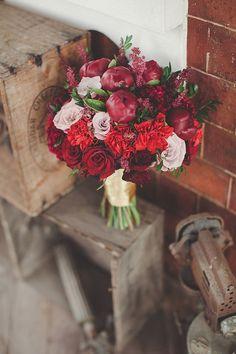 Dark romantic red and peonies. Love it!
