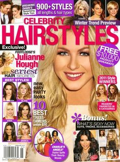 Celebrity Hairstyles Magazine Julianne Hough Over 900 Styles Blonde Brunette Red Hair Magazine, Beauty Magazine, Celebrity Magazines, Hair Secrets, Brunette To Blonde, Beauty Guide, Party Looks, Celebrity Hairstyles, Celebrity Gossip