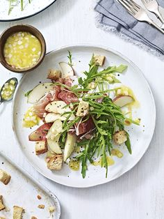 Serrano ham and pear are a match made in heaven. This salad makes a great, easy, low-calorie dinner that's ready in just 15 minutes.