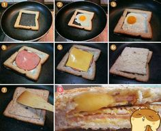 Diy Projects: Egg In A Frame Yummy Food DIY Food Breakfast Ideas Food Recipes. love a fried egg and toast! I Love Food, Good Food, Yummy Food, Awesome Food, Healthy Food, Comida Diy, Do It Yourself Food, Delicious Sandwiches, Egg Sandwiches