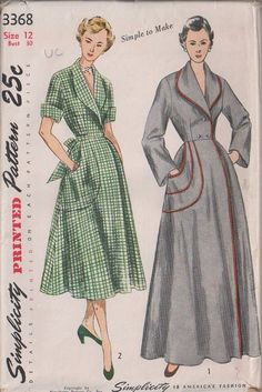 Simplicity 3368 (circa 1950s) house coat pattern. I love the grey with cranberry piping!!! Large Shaped Pocket, Shawl Collar House Dress, Double Breasted Dressing Gown, House Coat, Robe