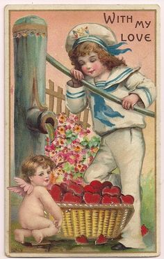 Hold to Light Valentine Sailor Girl and Cupid by Water Pump Postcard   eBay