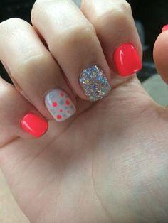 Uñas de neón de color naranja de verano por Sherrie