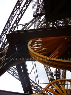 The inner workings of the elevator mechanisms inside the Eiffel Tower