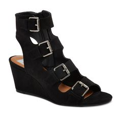 Women's dv Leeann Buckle Wedge Gladiator Sandals - Black 8.5