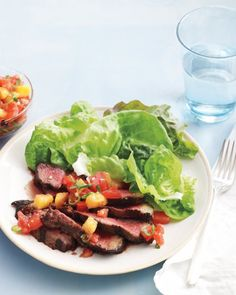 {skirt steak with grilled peach salsa} reviews advise to kick up the heat in the salsa - noted!