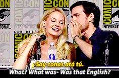 Colin and Jen at Comic Con speaking Gaelic