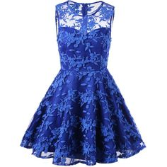 Embroidered Sleeveless Homecoming Dress (27 CAD) ❤ liked on Polyvore featuring dresses, blue, sleeveless dress, blue homecoming dresses, broderie dress, blue embroidered dress and blue color dress