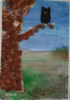 Педагогический опыт Урок рисования Аппликация обрывная Печать губкой Рисование и живопись Совы в ночи Бумага газетная Гуашь фото 2