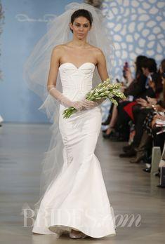 "Oscar de la Renta - Spring 2014. ""Addison"" ivory silk faille structured sweetheart trumpet gown"