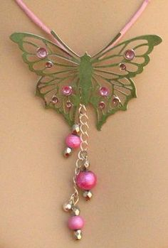 Pink Spring Butterfly Pendant Necklace Jewelry Accessories Handmade