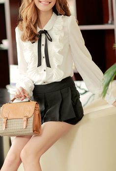 Collegiate Depictions Ruffle Tie-Neck Blouse in White  $34.99