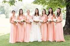 Beautiful bridal party with the bridesmaids in Donna Morgan Peach Fuzz!