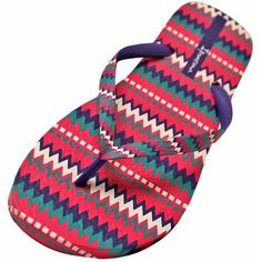 Ipanema Pink & Purple Multicolor Zigzag Pareo Print Flip Flops ($16) ❤ liked on Polyvore featuring shoes, sandals, flip flops, flip flops women, footwear, pink, multi colored sandals, pink shoes, pink sandals and pink patent leather shoes