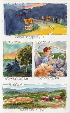 "Everyday Artist.  Love the "" Sketching the Time Away"" with the artist taking a trip from Pennsylvania to New England."