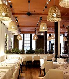 Hanging Pendant Light Restaurant Interior Lighting Design Fig Olive New York Modern