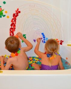 Mosaic Rainbow - this uses foam pieces in the bath.  I would love to try this with construction paper and glue sticks