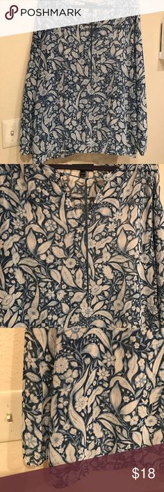 On trend floral long sleeve blue peasants blouse EUC except for the removal of originals tassels. Size 18/20. Elasticated waist and cuffs on long sleeves. Flattering vine lol opening at chest. Looks great with pants, shorts and jeans.  Selling as I have realized I don't like wearing elasticated waists. Lane Bryant Tops Blouses