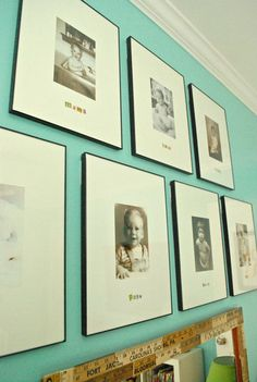 baby pictures of family members in nursery. great idea.