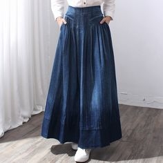New Fashion Long Maxi A-line Skirts Women Elastic Waist Spring And Autumn Cotton Pleated High Waist Skirts Denim Fashion, Hijab Fashion, Boho Fashion, Fashion Dresses, Hijab Style Dress, Romantic Outfit, Crop Top Outfits, Denim Outfit, Casual Skirts