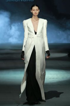 #SIMONGAO AW 2013 COLLECTION #designer #dark #top #fashion #vogue #trend #design #chic avant-garde #brand #black #show #wear #beauty #accesory #gothic #art #culture #cosmos #energy #tech #mystery #spiffy #gradient #oriental #cutting #lines #elegant #white #dress #coat #high-necked #belt