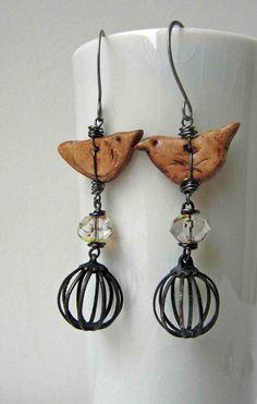 Cagey  handmade earrings bird earrings birdcage by somethingtodo, £17.00
