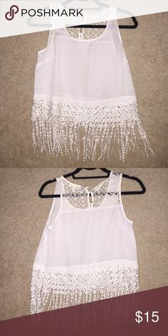 White fringe tank top White tank top with detailed fringe tassels. Monteau Tops Tank Tops