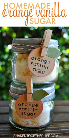Homemade Orange Vanilla Sugar makes a sweet gift! Sugar is infused with orange essential oil, vanilla and real orange zest. SO good in hot or iced tea, sprinkled over buttered toast or used in baking recipes!