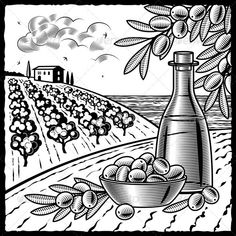 Olive Harvest Black And White  #GraphicRiver         Retro landscape with olive harvest in woodcut style. Black and white vector illustration with clipping mask.     Created: 6March12 GraphicsFilesIncluded: JPGImage #VectorEPS Layered: Yes MinimumAdobeCSVersion: CS Tags: agriculture #blackandwhite #bottle #bowl #branch #drawing #engraving #farm #food #fruit #grove #harvest #house #illustration #landscape #lineart #mediterranean #oil #olive #plantation #retro #rural #season #stilllife #tree…