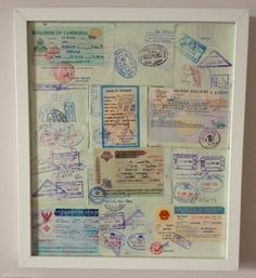 Craft idea for your old passport, frame it! Craft idea for your old passport, frame it! Souvenir Display, Travel Crafts, Travel Wall, Travel Souvenirs, Travel Memories, Travel Themes, Crafty Craft, Diy Art, Decoration