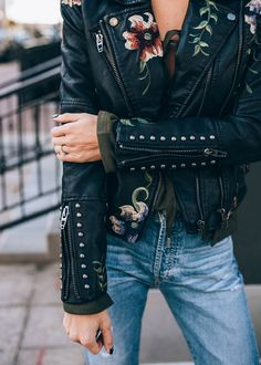 With a beautiful juxtaposition of feminine and urbanist, the Embroidered Leather Jacket from ILY Couture features an embroidered floral pattern, stud detailing and premium vegan leather. Look Fashion, Womens Fashion, Fashion Trends, Street Fashion, Fall Fashion, Milan Fashion, Net Fashion, Fashion Black, Embroidered Leather Jacket