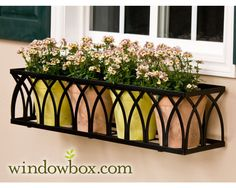 Best Black Metal Planter Boxes The Arch Window Box Cage Square Design Wrought Iron Window Metal Planter Boxes Metal Planter Boxes Au Wrought Iron Window Boxes, Metal Window Boxes, Window Box Flowers, Flower Boxes, Iron Windows, Arched Windows, Ideas Terraza, Window Shutters Exterior, Window Planter Boxes