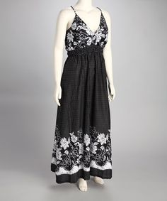 21.99 sale Take a look at this Black & White Floral Dot Plus-Size Maxi Dress by Jazzy Martini on #zulily today!