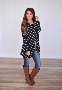 Striped Cardigan - Dottie Couture Boutique