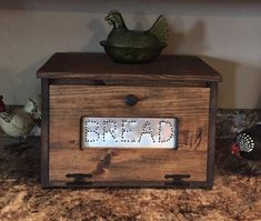 Rustic Bread Box Bin wooden Punched Tin by dlightfuldesigns
