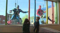 Everyone's favorite comic-book heroes are back to give the kids a surprise when they look outside their windows at Children's Hospital of Pittsburgh.