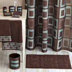 Hometrends Grid Lock Bath Collection Bundle. beautiful brown and blue