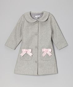 Look what I found on #zulily! Gray Bow Wool Peacoat - Toddler & Girls #zulilyfinds
