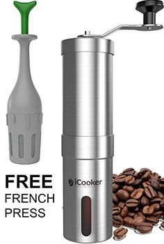 iCooker Manual Coffee Grinder Maker [FREE Cleaning Brush + BONUS Travel French Press] Best Spice & Coffee Bean Grinder Stainless Steel Blades Adjustable Portable - http://extremecoffeemachine.com/icooker-manual-coffee-grinder-maker-free-cleaning-brush-bonus-travel-french-press-best-spice-coffee-bean-grinder-stainless-steel-blades-adjustable-portable/