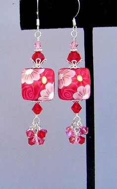 Red and pink flower earrings, polymer clay red floral earrings, red cluster earrings, Swarovski crystal raspberry red earrings