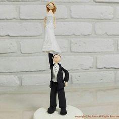 cheer stunt wedding cake topper