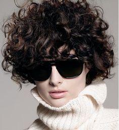 Dark short curly