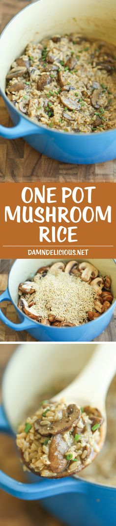 One Pot Mushroom Rice - Easy peasy mushroom rice made in one pot. Even the rice gets cooked right in! It's so creamy and packed with so much flavor! (one pot meals casseroles) Vegetarian Recipes, Cooking Recipes, Healthy Recipes, Vegetarian Cooking, Budget Cooking, Eating Paleo, Fruit Recipes, Pork Recipes, Chicken Recipes