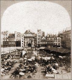 Le marché et la Fontaine des Innocents en 1850.   En 1856, suite au projet de construction des Halles par Baltard, un square est décidé pour remplacer le marché devenu inutile. La Fontaine sera déplacée de quelques mètres....