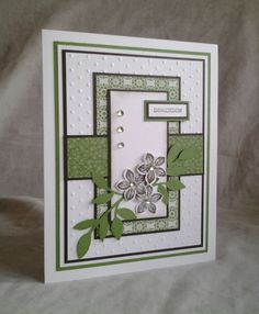StampinUp Petite Petals-Nice colours,great card layout too. Making Greeting Cards, Greeting Cards Handmade, Card Making Inspiration, Making Ideas, Stamping Up Cards, Rubber Stamping, Embossed Cards, Handmade Birthday Cards, Card Sketches