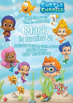 50 off sale Bubble Guppies  Invitation 2 by BirthdayP on Etsy, $4.00