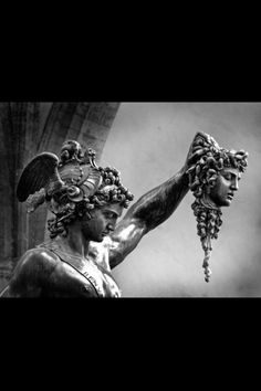 Perseus with the Head of Medusa - Benvenuto Cellini Perseus beheaded Medusa. Medusa was pregnant with Poseidon's child when she was beheaded. He beheaded her while she was sleeping. Ancient Greek Sculpture, Greek Statues, Ancient Art, Medusa Tattoo, Perseus Und Medusa, Greek Mythology Tattoos, Brust Tattoo, Statue Tattoo, Greek Art