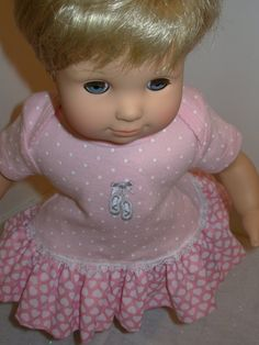 """15"""" Ballet Slippers on Pink with Pink Ruffle and Lace Dress for Bitty Baby or Twin Doll, American Girl Baby Doll"""